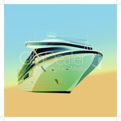 Ocean liner vector illustration on a gradient background