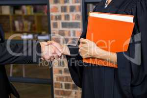 Businessman shaking hands with lawyer