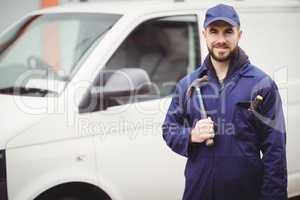 Repairman holding a hammer