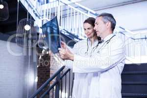Doctors examining a x report on staircase