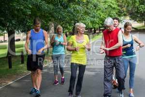 Marathon athletes taking their heart rate