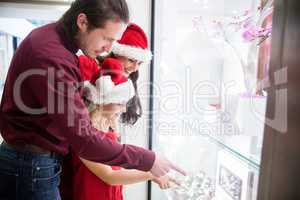 Family in Christmas attire looking at a display of wrist watch