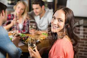 Couples drinking white wine