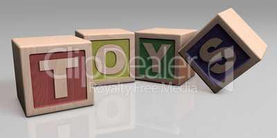 TOYS written with wooden blocks