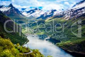 Geiranger fjord, Norway (tilt shift lens).
