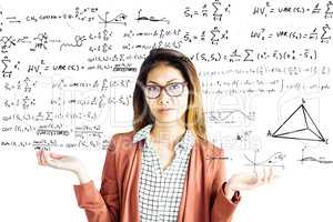 Composite image of doubtful businesswoman with eyeglasses