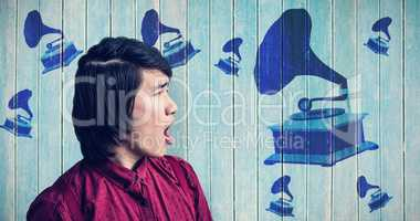 Composite image of angry hipster shouting