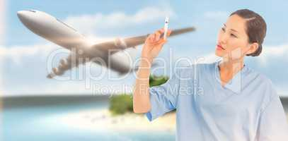Composite image of serious doctor holding an injection in hospit