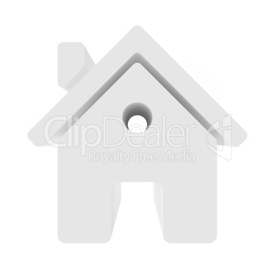 House isolated on white background. 3d rendering close-up