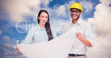 Composite image of casual architecture team working together at