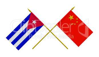 Flags, China and Cuba