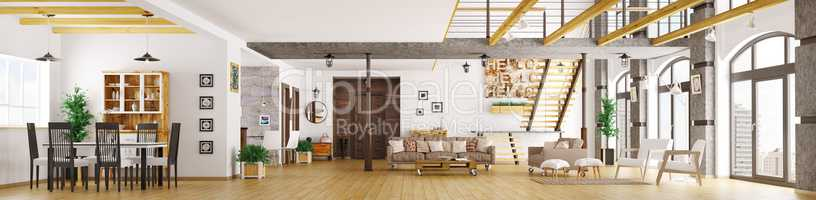 Modern loft apartment interior panorama 3d render