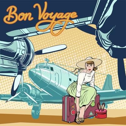Bon voyage beautiful girl on the runway