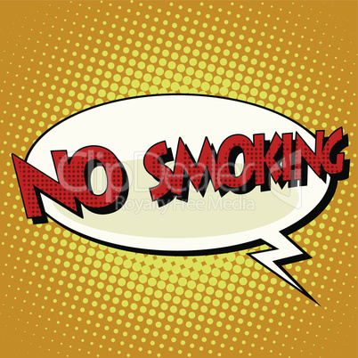 no smoking comic book bubble text