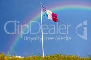 Französische Fahne mit Regenbogen