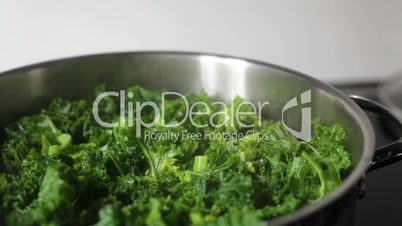 Kale boiled on the Cooker