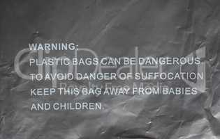 Danger of suffocation warning sign