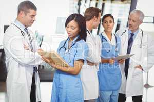 Medical team interacting with each other