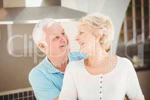 Active senior couple embracing in kitchen