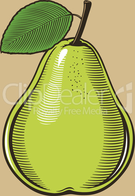 Pear in vintage style.