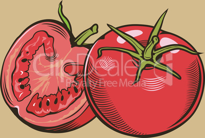 Tomatoes in vintage style