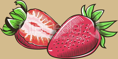 Strawberry in vintage style.