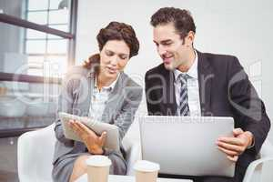 Business people with technology