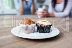 Muffin and cupcake served in plate on table