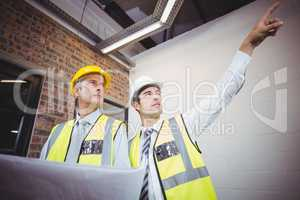 Architect pointing with colleague holding blueprint