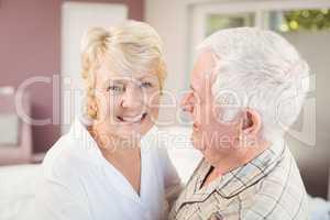 Cheerful senior woman with husband