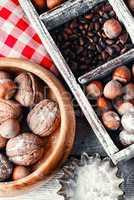 pine nuts,hazelnuts and walnuts