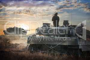 german main battle tanks stands in position