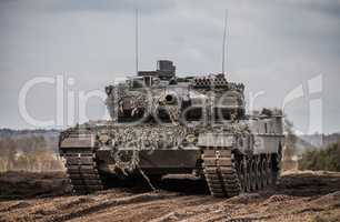 main battle tank stands in position to shoot