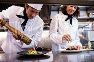 Two chefs garnishing meal on counter