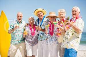 Seniors drinking cocktails