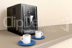 Espresso machine in the kitchen