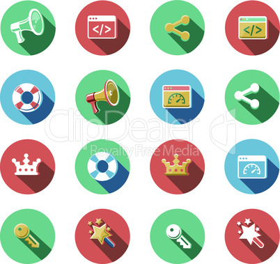 Internet and Web Flat Icons Set