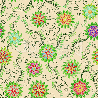 Seamless pattern with flowers over beige