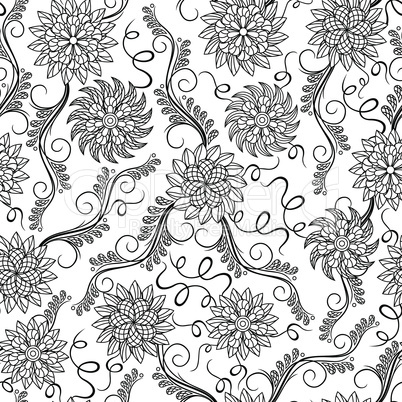 Seamless herbal black and white pattern