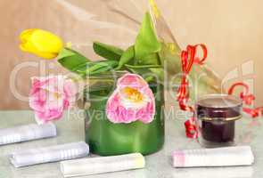 Cosmetics for body and hair and flowers.