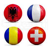 Soccer balls with group A team flags, Football Euro 2016.