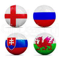 Soccer balls with group B team flags, Football Euro 2016.