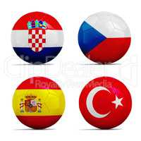 Soccer balls with group D team flags, Football Euro 2016.
