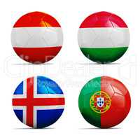 Soccer balls with group F team flags, Football Euro 2016.