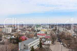Panorama of Kozelets town bird's-eye view
