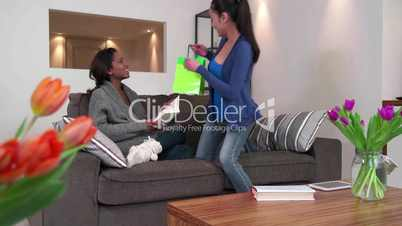 Girl Giving Gift Present To Girlfriend Lesbian Gay Homosexual PartneR