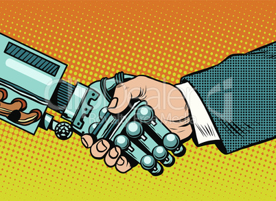 Handshake of robot and man. New technologies and evolution