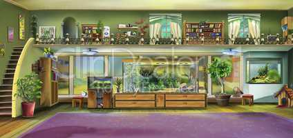 Home Interior with Aquariums