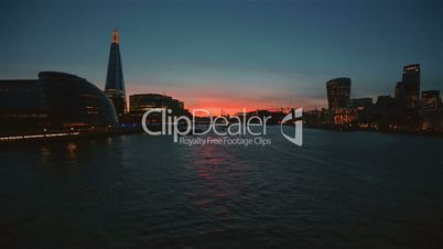 Sunset view of the river Thames in London