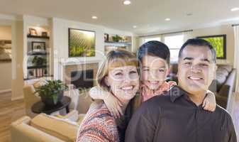 Young Mixed Race Family Portrait In Living Room of Home